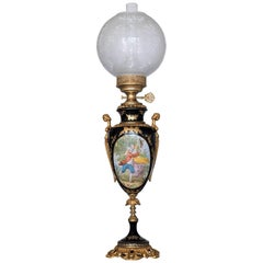 Italian Porcelain Bronze Vase Table Lamp in Sevres Style, circa 1960