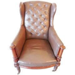 Mid-19th Century Mahogany Wingback Chair, England, circa 1850
