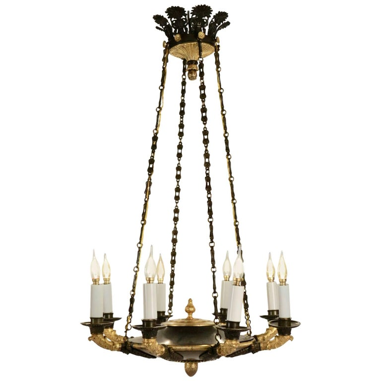 Period Empire Eight Light Chandelier 19th Century Gold