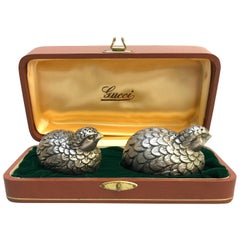 Gucci Vintage Salt and Pepper Shakers Gift Box Silver Plated Pewter Quails