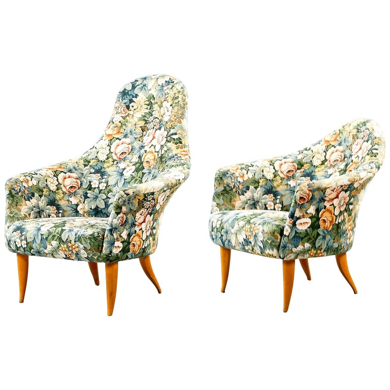 Kerstin Horlin Holmquist Pair of Lounge Chairs Model Little and Large Adam For Sale