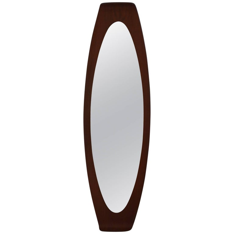 Italian Bentwood Teak Wall Mirror by Franco Campo & Carlo Graffi for Home