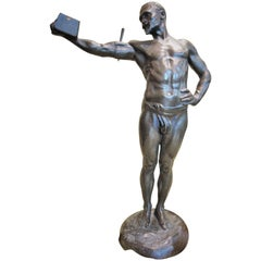 Paul Richer, Weightlifter, French Art Nouveau Bronze Sculpture, ca. 1900