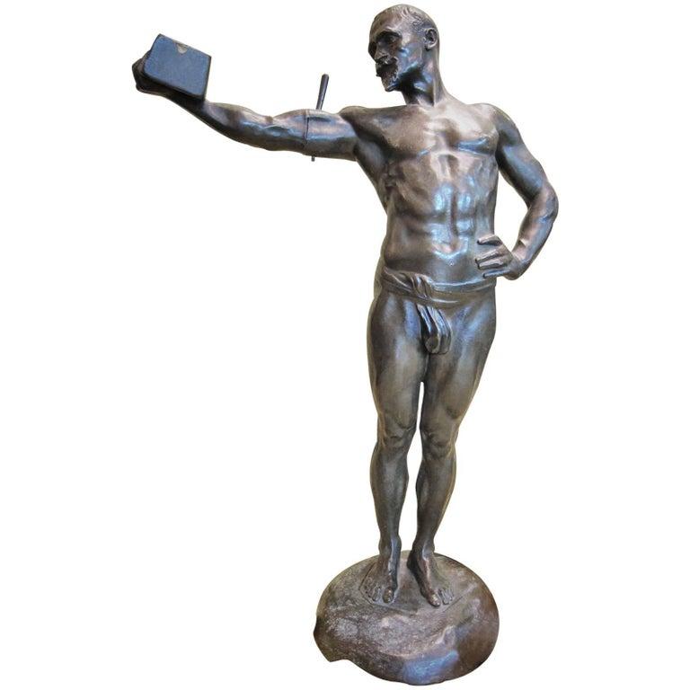 Paul Richer, Weightlifter, French Art Nouveau Bronze Sculpture, ca. 1900