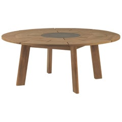 Roda Brick Round Outdoor Dining Table for Eight People with Stone Centre