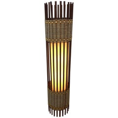 Danish Stick Spindle Floor Lamp in Walnut and Chord