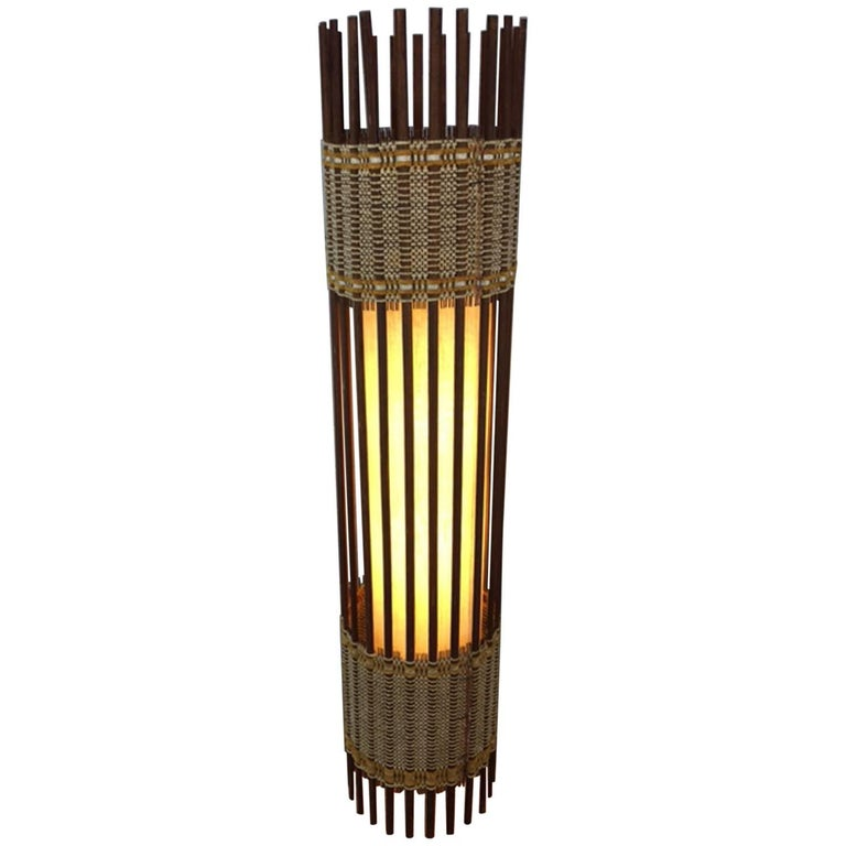 Danish Stick Spindle Floor Lamp in Walnut and Chord For Sale at 1stdibs
