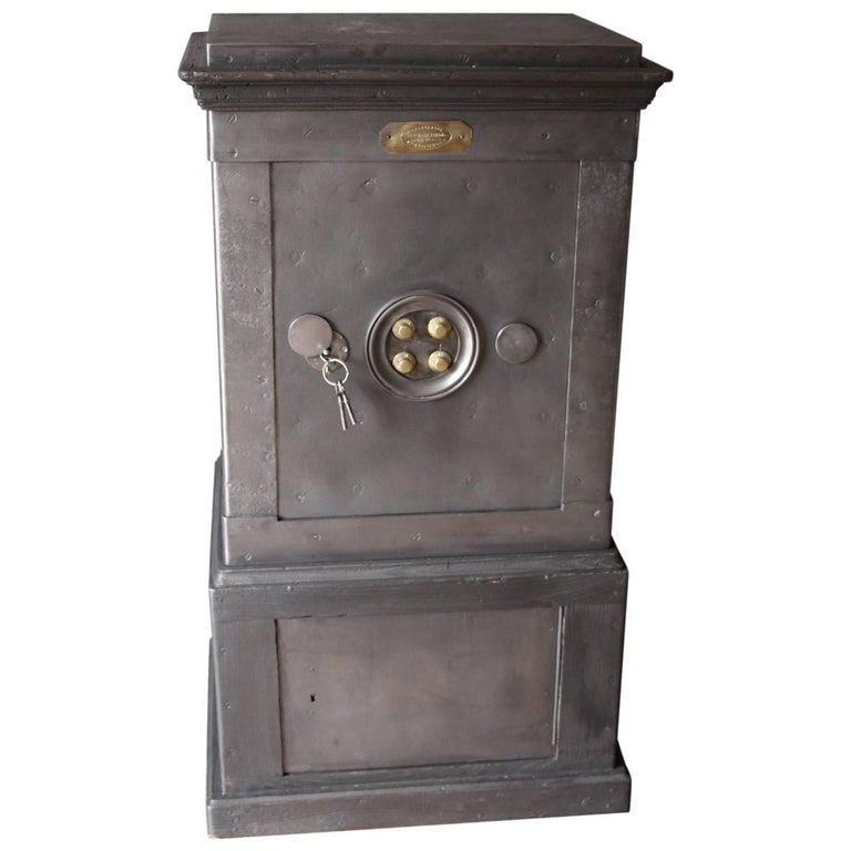 Black Steel, Iron and Wood Safe with All Keys and Working Combination by Bauche