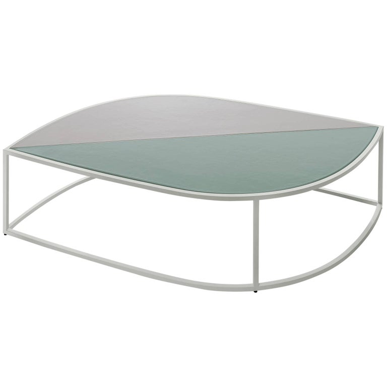 "Roda Leaf Coffee Table for Outdoor/Indoor Use in Glazed or Natural ""Gres"" Tiles"