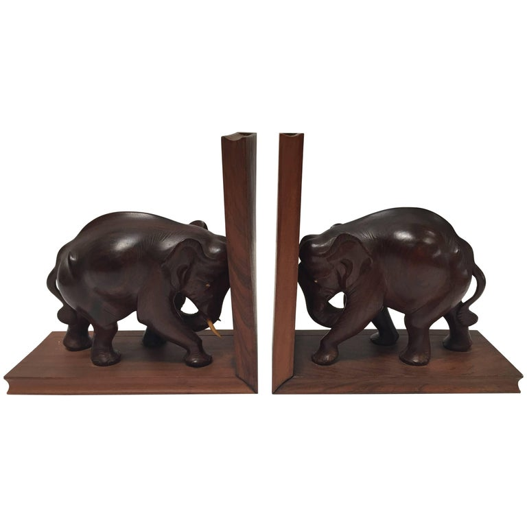 Hand-Carved Wooden Elephant Bookends, circa 1950