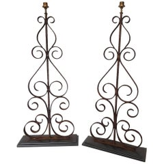 Set of Two Late 20th Century Wrought Iron Floor Lamps