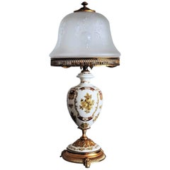 Vintage Italian Hand-Painted Porcelain Vase Table Lamp, circa 1960