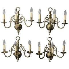 English Set of Four Brass Antique Sconces