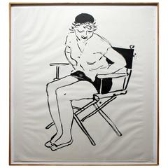 Contemporary Celia in the Director's Chair Lithograph by David Hockney, 1980