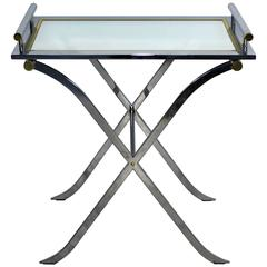 Mid-Century Modern DIA X Base Chrome Brass Mirror Bar Side Table Removable Tray