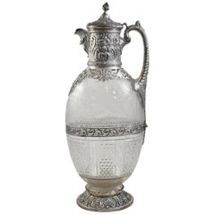 19th Century Sterling Silver and Etched Glass Pitcher by George Elder