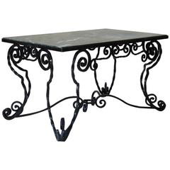 Unusual Wrought Iron and Marble Coffee Table, France, circa 1940s