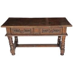 18th Century Baroque Walnut Library Centre Table
