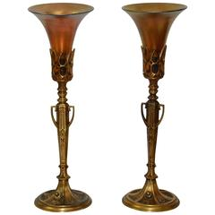 Pair of Art Deco Bronze Lamps with Iridescent Shades