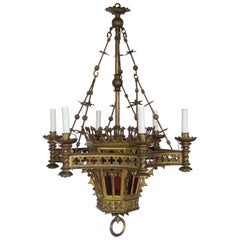 Gothic Revival Bronze Gas Chandelier