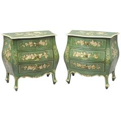 Pair of Small Italian Florentine Green Painted Bombe Commodes Chests Nightstands