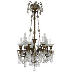 19h Century Baccarat Bronze and Glass Chandelier