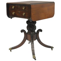 19th Century Antique Regency Empire Mahogany Drop Leaf Work Stand Side Table