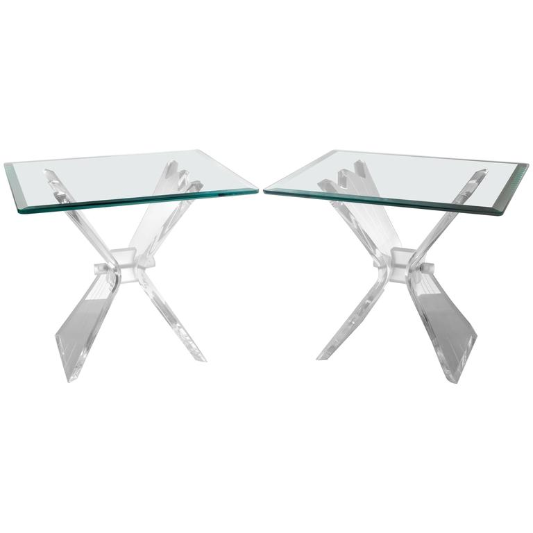 Pair of Lucite Butterfly Wing Glass End Table Hollywood Regency, Lion in Frost For Sale