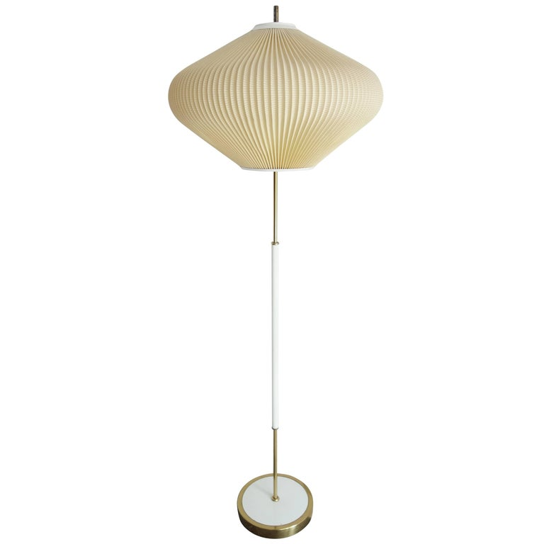 Floor lamp mid century modern onion shape shade white metal stand with brass at 1stdibs - Artistic d lamp shade designed with modern and elegant shape style ...