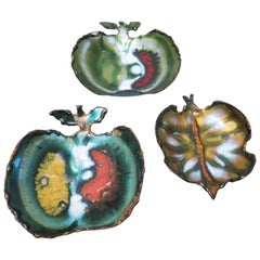 Set of Three Brutalist Apples and Leafs Small Bowl, 1960s
