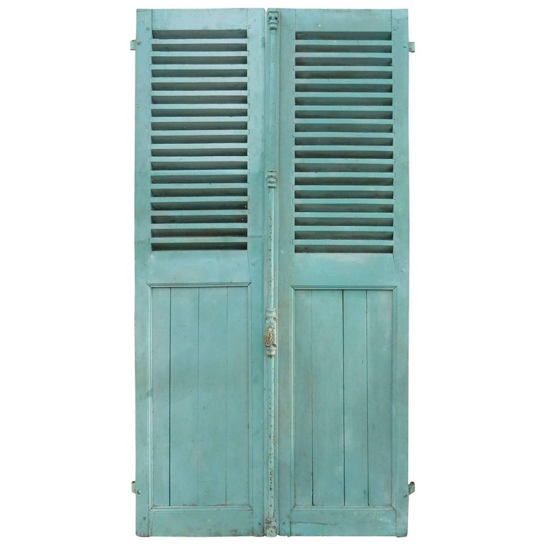 Pair of French Green Aqua Shutters, circa 1890 For Sale