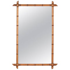 French Colonial Style Bamboo Mirror, 1920s