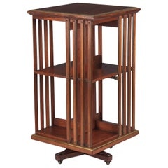 Empire Style English Revolving Bookshelf in Cherrywood, Late 1800s