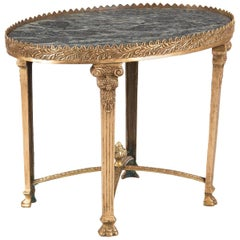 Empire Style Gilded Bronze and Marble-Top Side Table, 1950s