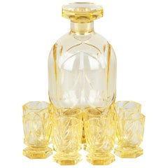 Art Deco Bohemia Glass Decanter Set by Moser, 1940s