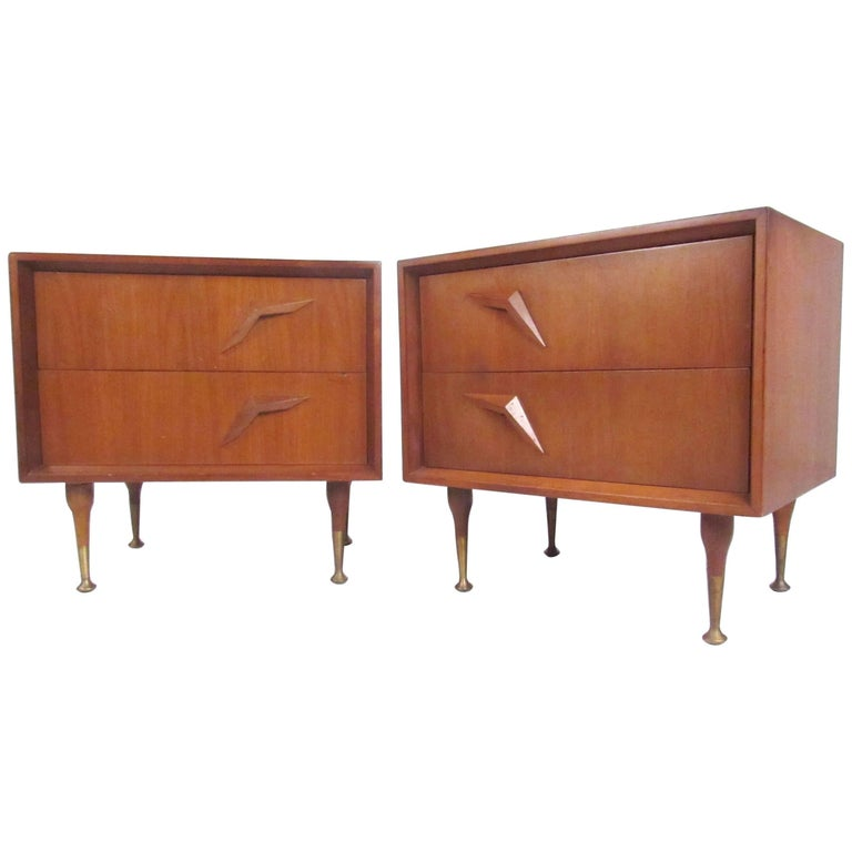 Pair of Stunning Vintage Modern Walnut Nightstands