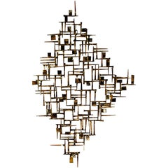 Mid-Century Modern Brutalist Metal Wall Sculpture by William Bowie Jere Style