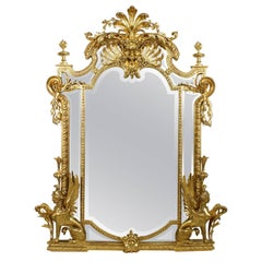 French Empire Style 19th Century Napoleon III Giltwood Mirror with Sphinxes