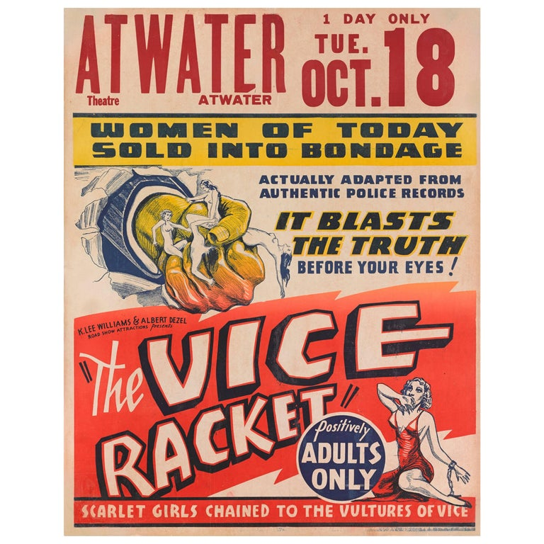 """Gambling With Souls / The Vice Racket"" Original American Movie Poster"