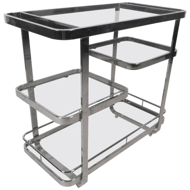 Mid-Century Modern Chrome and Glass Bar Cart in the Style of Milo Baughman