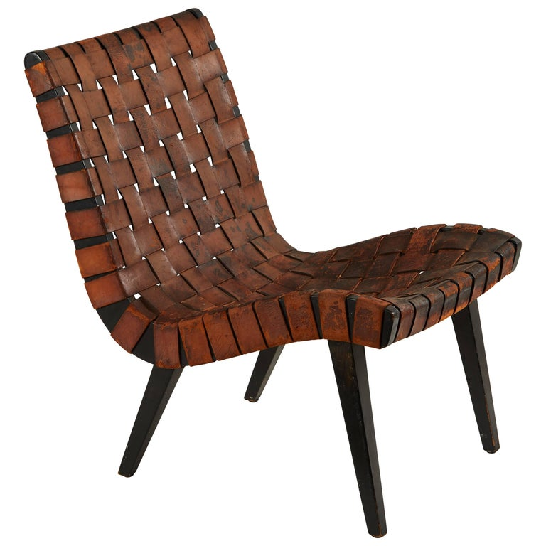 Early Woven Leather Lounge Chair by Jens Risom for Knoll