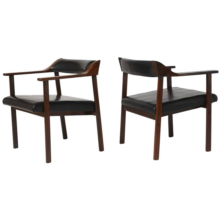 Pair of Lounge Chairs by Joaquim Tenreiro For Sale