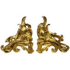 Pair of French 19th Century Louis XV Style Gilt Bronze Chenets by Bouhon Frers