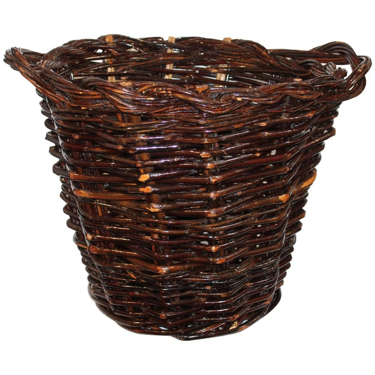 Monumental 20th Century Hickory Gathering Basket For Sale