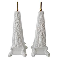 Mottahedeh Blanc de Chine Classical Obelisk Pair Table Lamps Italian Ceramic