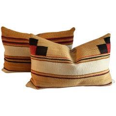 Pair of Chinlie Navajo Saddle Blanket Weaving Pillows