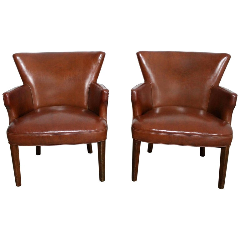 Art Deco Pair of Petite Brown Faux Leather Armchairs with Nail Head Accent