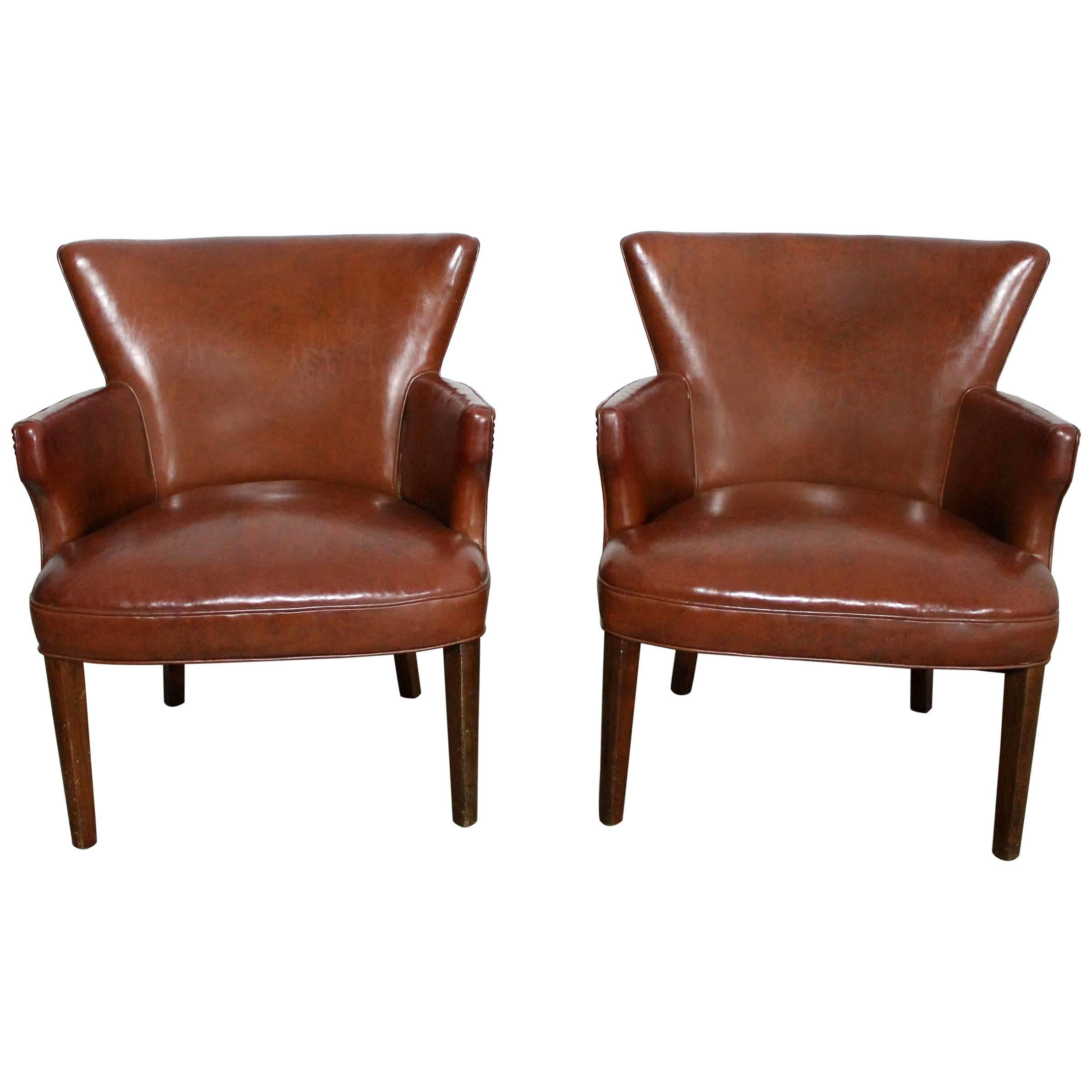 Art Deco Pair Of Petite Brown Faux Leather Armchairs With Nail Head Accent  For Sale