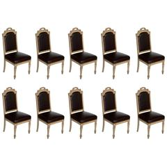 Set of Ten Antique French Dining Chairs