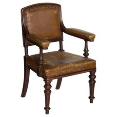 Victorian  English Leather Elbow Chair